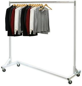 Z base Garment Rack Rolling Grade Clothes Long Bar Commercial 400lb Load 62 New