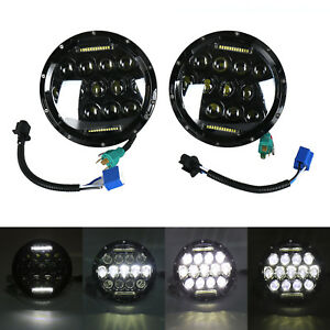 150w 2x7 Round Total Cree Drl Led Headlights Fit Jeep Wrangler Jk Tj Yj 97 17