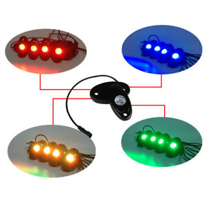 4 Pc Multi Color Led Rock Light Kit Control Rgb Underglow Offroad Car Truck Boat
