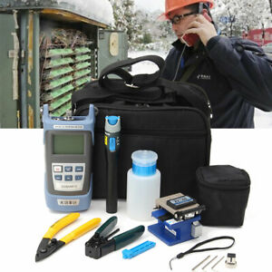Fiber Optic Ftth Tool Kit With Fc 6s Cutter Cleaver Optical Power Meter Visual