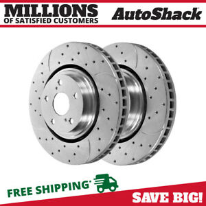 Front Drilled Slotted Brake Rotors Pair 2 For 08 2017 Toyota Highlander 980636