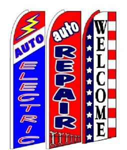 Auto Electric Auto Repair Welcome King Size Swooper Flag Sign Pack Of 3