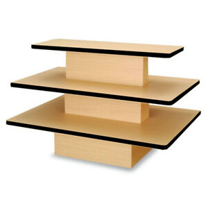 3 Tier Rectangular Clothing Merchandise Display Table Store Fixture Maple New