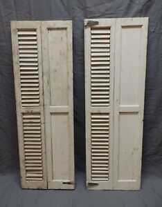 2 Antique Bi Fold Window Wood Louvered Panel Shutters 42x14 Interior Vtg 607 18p