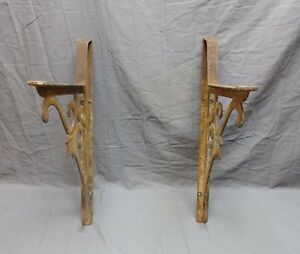 Pair Antique Cast Iron Shelf Sink Brackets Decorative Vtg Industrial Old 609 18p