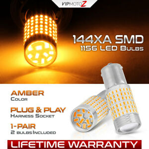 144x Smd Ultra Bright 1156 Ba15s Amber Yellow Turn Signal Led Light Bulbs Pair