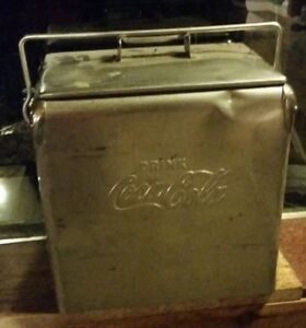 NICE RARE 1950's ACTON STAINLESS STEEL COCA COLA COOLER CHEST WITH TRAY