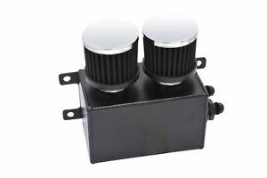 Fabricated Twin Filter Dual Baffled Motor Oil Catch Can Tank Reservoir Black