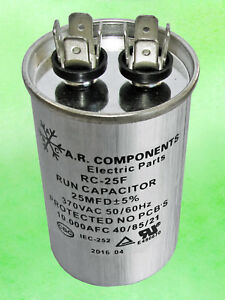 Run Capacitor 25 Mfd 370 Vac Round Can Ul Certified Rc 25f