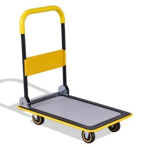Foldable 330 Lbs Platform Cart Dolly Hand Truck Tool Iron Pu Wheels Useful Us
