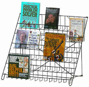 Black Wire Literature Display 6 Tier Countertop Folding Rack Books Dvd Cd Folds