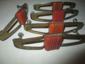 5 Bakelite Brass Drawer Pull Handles Creamy Amber Butterscotch Scored Blocks