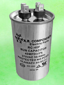 Run Capacitor 40 Mfd 370 Vac Round Can Ul Certified Rc 40f