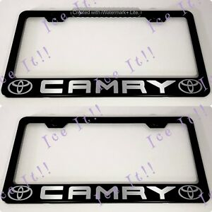2x Toyota Camry 2018 Stainless Steel Black License Plate Frame Rust Free