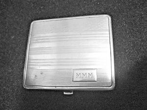 Vintage Sterling Monogrammed Powder Compact With Mirror Signed