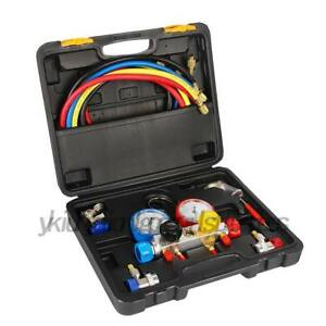 Us 4 Way Ac Diagnostic Manifold Gauge Set R410a R22 R134a Diagnostic Charging