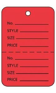 2000 Perforated Tags Price Sale Pricing 1 W X 2 H Two Part Tag Red Coupon