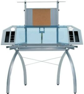 New Futura Tower Glass Silver Blue Drafting Clear Table Office Desk Top Station