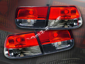 Fit For 1996 2000 Honda Civic Tail Lights Red Smoke 2d Coupe 99 98 97