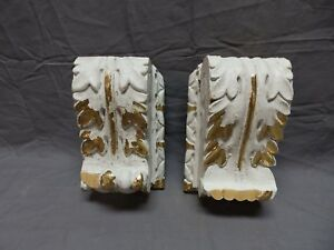 Pair Antique French Carved Wood Corbels Shelf Brackets Shabby Vtg Chic 629 18p