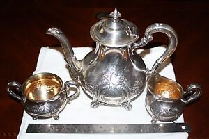 Reed Barton Regent Hand Chased Silverplate Tea Coffee Pot Sugar Bowl Creamer Set