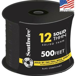 Southwire 11587358 500 ft 12 Awg Solid Black Copper Thhn Wire by the roll New