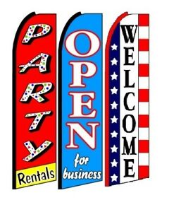 Party Rentals Open For Business Welcome King Size Swooper Flag Pack Of 3