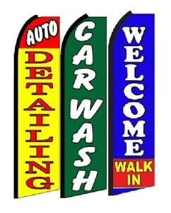Auto Detailing Car Wash Welcome Walk In Swooper Flag Sign Pack Of 3