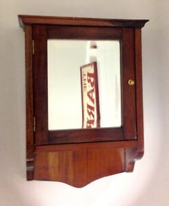 Antique Wooden Mirror Fronted Cabinet Cupboard Wall Hanging Or Tabletop