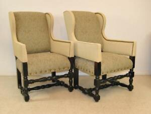 Pair Of William And Mary Style Upholstered Arm Chairs By Lee Industries