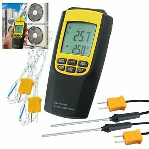 K J Type Thermocouple Thermometer 4 Probes Lcd Backlight Temperature Meter