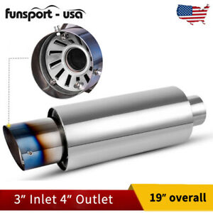 3 Inlet 4 Outlet Racing Exhaust Muffler W Silencer Burnt Tip Stainless Steel