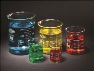 Set Of 5 Graduated Glass Beakers 50ml 1000ml
