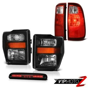 Pair Black Crystal Headlight Red Led Tail Lights Tint 3rd Brake 08 10 F250 6 8l