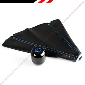 M12 X 1 25 Jdm Type R Blk Blue 5 Speed Gear Knob Leather Shift Boot For Toyota