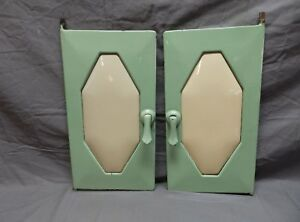 Antique Wood Gas Stove Doors Jadite Green Enamel Porcelain Vtg Old 678 18p