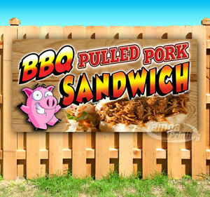 Bbq Pulled Sandwich Advertising Vinyl Banner Flag Sign Carnival Food Fair