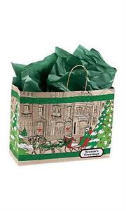 100 Paper Bags Holiday Christmas Shopping 16 X 6 X 12 Street Scene Kraft
