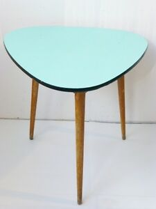 Table High Tripod Plate Formica Green Pale Turquoise 1950 Vintage Design N 2