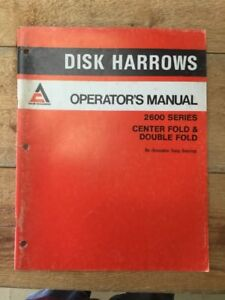 Allis Chalmers 2600 Series Disk Harrow Operators Manual centerfold And Double