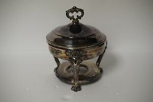 Antique Victorian Ornate Silver Plate 3 Piece Chafing Dish