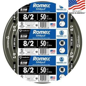 Southwire 28893622 Romex Simpull 50 ft 8 2 Non metallic Wire by the roll New