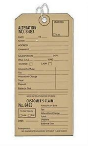 1000 Perforated Tags Pre numbered Claim Two Part Tan Alteration Merchandise