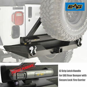 Eag Ez Grip Rear Bumper W Secure Lock Tire Carrier For 87 06 Jeep Wrangler Tj Yj