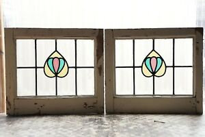 Pair Of Antique Stained Glass Windows Three 3 Color Nouveau Tulips 3106