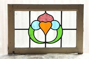 Large Antique Stained Glass Window Four 4 Colors Of Glass 3112