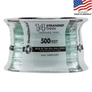 Southwire 22959158 500 ft 14 Awg Stranded Green Copper Thhn Wire By the roll New