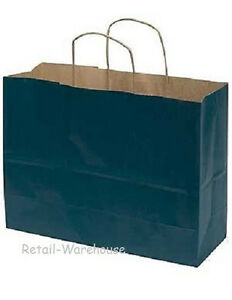 Paper Shopping Bags 100 Large Navy Blue 16 X 6 X 12 Vogue Retail Merchandise