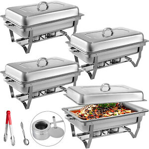4 Pack Chafing Dishes Pans Buffet Catering Rectangular Chafer Warmer 9 Quart