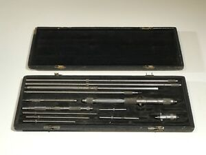 Vintage Ls Starrett Co Micrometer Depth Gauge Set With Case Made In Usa